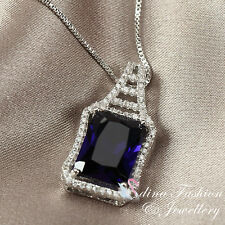 18K White Gold Plated Genuine Swarovski Crystals Elegant Dark Sapphire Necklace