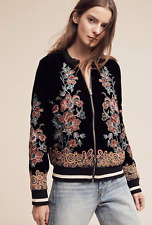 NWT Anthropologie Embroidered Velvet Bomber By Elevenses Size S