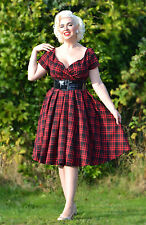 Vintage 50s Couture Style Tartan Diva Pinup Rockabilly Swing Tea Dress UK10/12