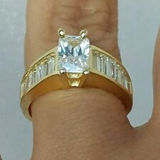 1.5 C man made diamond Emerald cut Baguettes 14k yellow gold Engagement Ring S 6