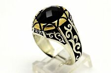 BLACK ONYX 925 K STERLING SILVER BRONZE MEN WOMEN TURKISH ART RING SIZE US 10.25