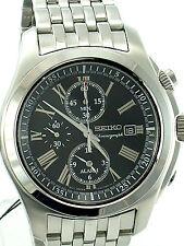 SEIKO MEN SNAE31P1 Black Dial Chronograph Alarm Stainless Steel Bracelet