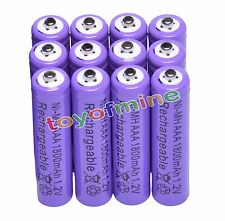 12x AAA 1800mAh 1.2 V Ni-MH rechargeable battery Purple for MP3 RC Toys Camera
