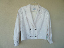 Palm Dreams Palm Desert Glitzy Battle Jacket Cream w/ Gold Dots  L