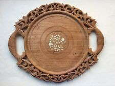 Vintage Very Ornate Hand Carved Wooden Serving Tray/Trivet India