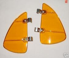 VW Accessory Split Oval Bug Vent Wing Rain Deflector Amber tint plastic pair
