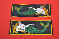 RARE UNITED STATES NAVY LIBERTY SILK CLOTH MERMAID EMBLEM BADGES LEFT/& RIGHT!