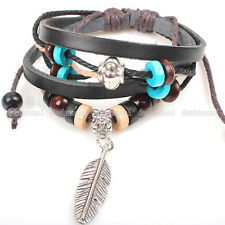 New Fashion Charm Women Men Multi-color Beads Leather Necklace Feather Bangle