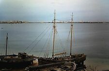 Orig Red Border Slide, 1956 - Old Boats, Water Front in Tripoli, Libya