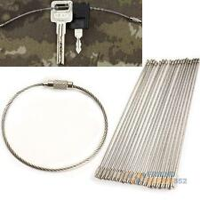 20PCS Stainless Steel Wire Keychain Cable Key Ring for Outdoor Hiking  #F8s