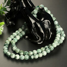 New Natural Grade A Jade (Jadeite) 8mm Potted-Green Bead Necklace 55cm