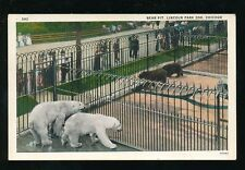 USA Chicago Worlds Fair 1933 Lincoln Park Zoo Animals Bear Pits PPC