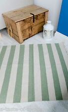 100% Recycled Cotton Seaside Mint/Natural Striped Dhurrie/Rug 90 x 150 cm