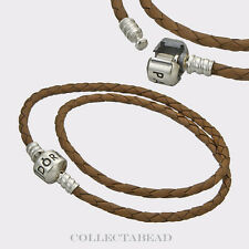 "Pandora Sterling Silver Double Brown Leather Cord 16.1"" Bracelet 590705CBN"