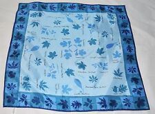 Vintage VERA NEUMANN 60's 70's Signed Blue Leaf Collection Acetate Scarf - Japan