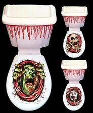 ZOMBIE SKELETON BLOOD SPLATTERED MONSTER TOILET SEAT CLING DECOR STICKER THEMED