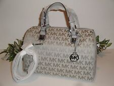 MICHAEL KORS GRAYSON ~LARGE~ SATCHEL BAG TOTE $348 MK SIGNATURE GREY GRAY SILVER