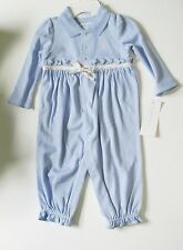Ralph Lauren Baby Girls Ruffle Polo Coverall Robin Blue Sz 9M - NWT