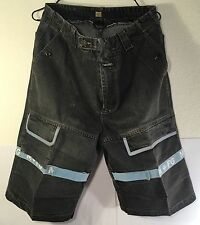 MARITHE FRANCOIS GIRBAUD MEN'S JEAN SHORTS VELCRO STRAPS BLACK BLUE HIP HOP 34