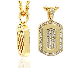 "Mens 16K Gold Plated Cz Dog Tag HIp Hop Fashion Pendant  With 4mm/24"" Rope Chain"