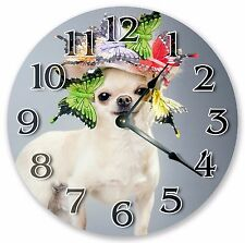 """10.5"""" CHIHUAHUA AND BUTTERFLIES CLOCK - Large 10.5"""" Wall Clock Home Décor - 3072"""