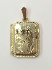 9Carat (9ct) Gold Rectangular Locket Pendant - Foliate Detail - 6.68g