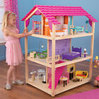 "Large Open Play Rolling Pink Wood 12"" Doll Dollhouse w 50P Furniture Accessories"