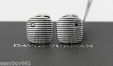 David Yurman Full Cut Black Diamonds Cushion Royal Cord Cufflinks St. Silver New