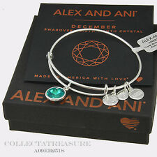 Authentic Alex and Ani December Birthstone Shiny Silver Blue Zircon Bangle