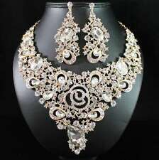 ROSE AUSTRIAN RHINESTONE CRYSTAL BIB NECKLACE EARRINGS SET BRIDAL N1691G GOLD