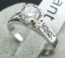 PLATINUM PLATED AUSTRIAN CRYSTAL ENGAGEMENT RING. SIZE: N