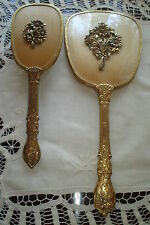 Vintage Beautiful Mirror and Matching Brush/24K gold plated Ormolu Floral