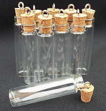 10 x Fillable Empty Glass Witch Charm Bottles With Cork for Oils 46x11mm
