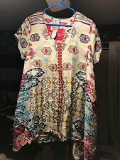 Johnny Was Silk Floral Handkerchief Tunic Top Sz M Medium Very Beautiful