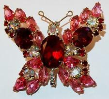 VINTAGE FIGURAL PINK RED AURORA BOREALIS RHINESTONES FLASHY BUTTERFLY BROOCH PIN