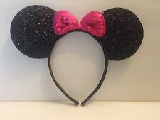 1pc Minnie Mouse Pink Bow-Mickey Mouse Ears Headband Shimmer Ears-Disney Costume