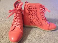 Fashion Wedge Womens Coral Pink Hidden Platform High Top Sneaker Shoe 7.5 US/ 37