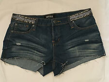 NWT FOREVER 21 PREMIUM DENIM STUD WAIST CUT OFF JEAN SHORTS 30