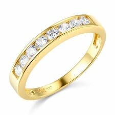 Solid 14k Yellow OR White Gold Man Made Diamond Channel Set Wedding band