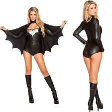 Sexy Bat Woman Catwoman Wetlook Jumpsuit Catsuit Halloween Fancy Dress 89104