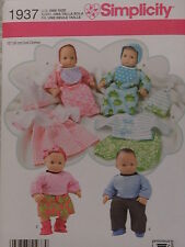"Uncut Simplicity 1937 Doll Clothes Pattern for 15"" Baby Dolls"