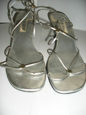 *DEBUT* LADIES ANKLE STRAP SANDALS SILVER WITH KITTEN HEELS SIZE 7