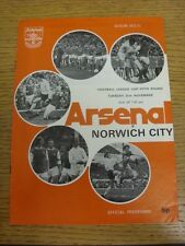21/11/1972 Arsenal v Norwich City [Football League Cup] (score noted). Thank you