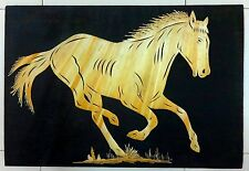 "Horse Indian natural rice straw collage on cloth 13""x19"" 34cm x 49cm Ӝ"