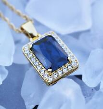 Hip Hop Blue Sapphire Gem Stone Pendant And Chain