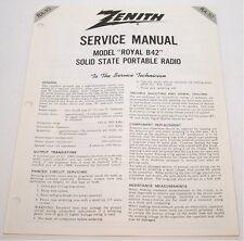 ORIGINAL Zenith Royal B42 Portable Radio SERVICE MANUAL - MINT
