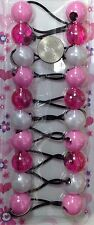 pink clear  elastic Scrunchies jumbo bead hair tie girl Ball Ponytail Holder