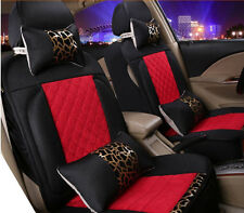 Car Seat Cover Red and Black Fabrics For All Car Vehicles 8pcs