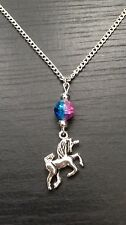 """Silver Tone Unicorn 18"""" Necklace With Pink/Turquoise Bead,Party Bag Fillers,Gift"""