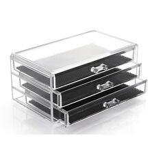 Acrylic Clear Makeup Case Cosmetics Organizer 3 Drawer Display Storage Box